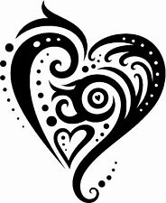 Big Tattoo Style Love Heart a Vinyl Wall Art Sticker in 5 Sizes & 24 Colours