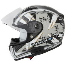 SPADA ARC PATRIOT BLACK MOTORCYCLE HELMET WITH SUN VISOR ACU GOLD