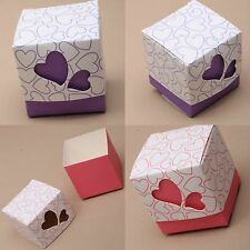 50 Flat Pack Heart Gift Box Favour Sweet Boxes Wedding Favour Table Decorations