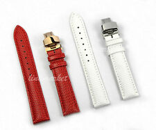 12mm 14mm NEW WOMEN BLACK BROWN RED WHITE SNAKE Grain LEATHER Watch Band Strap