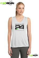 Herbalife 24 Cool Dry Fit. White Ladies Sleeveless V-Neck Tee, Black Letters
