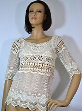 URBAN X Half Sleeve Crochet lace and Mesh Combination Top Beige -S-M-L USA UC026