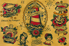 Flash Fine Art Print by Johnny 2/3rds Traditional Tattoo Flash Nautical Sailor