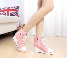 Women 8cm Wedge Heel Canvas High Top Sneakers Ankle Boots Korean Style Shoes S4