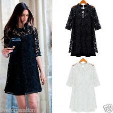 New 2014 Crochet Floral 2-in-1 Black turn-down Collar Half Sleeve Lace Dress-CSK