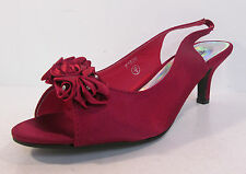 Ladies F1878 Red satin peep toe sling back court shoe by SPOT ON