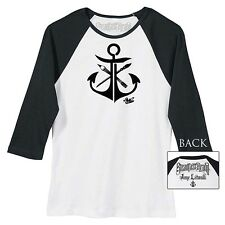 Women's Steadfast Brand Anchor Baseball Tee by Jime Litwalk Nautical Art Tattoo