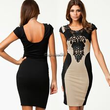 Sexy Women Lace Short Sleeve Slim Fashion Bodycon Party Cocktail Evening Dress C
