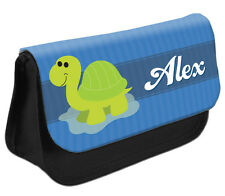 PERSONALISED Turtle Pencil Case Make up Bag - Kids School Great Gift Idea DS
