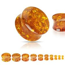 New Synthetic Amber Saddle Double Flare Ear Lobe Flesh Tunnel Plug