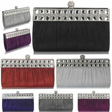 Womens Diamante Satin Crystal Bridal Evening Party Clutch Bag Ladies Handbag