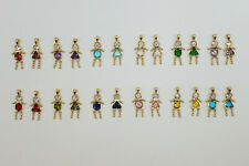 BIRTHSTONE BABY Charm Pendant 24k Yellow Gold Plated all months Boy and Girls