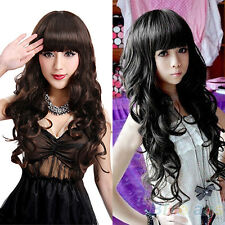 Fashion Woman Long Curly Wavy Cosplay Full Party Wigs Hair With Wig Cap BHBU