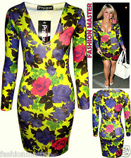 WOMENS LADIES CELEBS SAM FAIERS NEON FLORAL PRINT V NECK BODYCON MINI DRESS 8-14