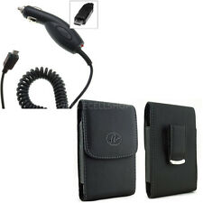 Car Charger + Vertical Leather Belt Clip Case for LG Cell Phones ALL CARRIERS