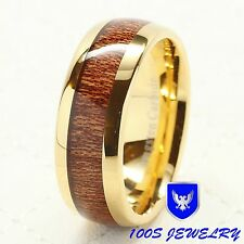 Mens Tungsten Carbide Ring 8mm Wood Inlay 14k Gold Plated Wedding Band Size 8-15