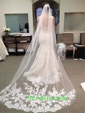 2014 White Ivory Beautiful Cathedral Length Lace Edge Wedding Bridal Veil Comb