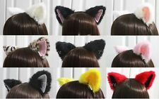Cat Fox Long Fur Ears Headband Anime Cosplay Party Costume
