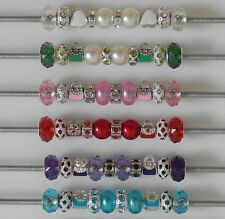SET OF 10 MIXED BEADS CHARMS FACETED ENAMEL RHINESTONES FIT EUROPEAN BRACELET
