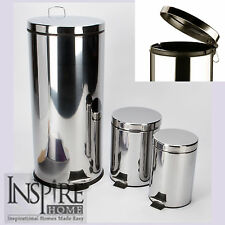 Polished Chrome Stainless Steel Pedal Bins With Internal Plastic Liner 30L 5L 3L