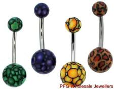 1pc New Steel Animal Leopard Print Belly Button Navel Bar Ring Body Piercing