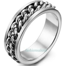 8mm Stainless Steel Cool Men's Women's Spinner Ring with Curb Chain Center Silve
