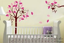 Personalised color Monkey Tree #1 Wall Art Stickers Kids Nursery Vinyl Decals