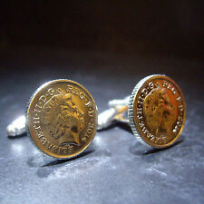 1ST SILVER WEDDING ANNIVERSARY 2016 5P PENCE COIN CUFFLINKS or CHOOSE YOUR YEAR