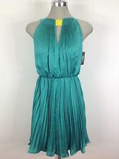 Vince Camuto NWT Green pleated dress with accent citron neck design