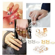 FASHION GOLD SILVER PUNK SET STACK CUT ABOVE KNUCKLE RING BAND MIDI RINGS GIFT