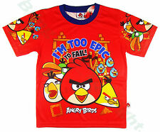 Angry Birds Authentics Red Boys Girls Kids Clothes Toys Tee Top T-Shirts Age 3-8