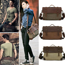 Vintage Men Unisex Women Handbag Canvas Leather Laptop PC Computer Messenger Bag