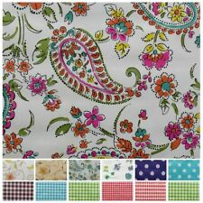 FLORAL GINGHAM POLKA DOT PRINT PVC COATED COVERING TABLECLOTH OILCLOTH FABRIC