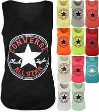 New LADIE'S WOMENS Converse Logo Print Sleeveless Racer Muscle T-shirt Vest Top