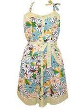 Desigual CottonYellow Green Blue Flower Print Halter Neck Summer Sun Dress