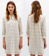 ZARA Guipure Lace W/ Jewel Button Embroidery Floral Paisley Shirt Dress 1836/023