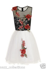 WHITE LACE MESH FLOWER APPLIQUE EMBROIDERED SKATER PARTY PROM DRESS 8-16