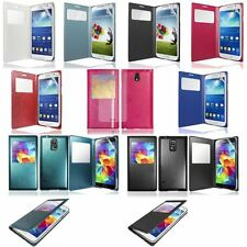 GOSB Colour S-View Flip Phone Case Cover For Samsung Galaxy FREE Screen Film