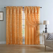 Charlize™ Embroidered Panel With Attached Valance & Attached Satin Backing