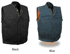 Men's SOA Denim Club Cut Vest Black or Blue  w/ Gun Pocket, Snap/ Zipper Closure