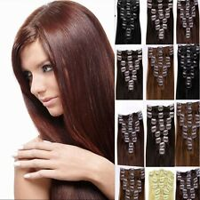 "15"" 20"" 24"" 26"" Clip In On 100% Real Remy Human Hair Extensions OEM Straight"