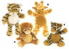 "Plushland 8"" Fuzzy Jungle Animal Lion Giraffe Monkey Elephant Cheetah Tiger NWT"