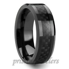 NEW Black Tungsten Mens Carbon Fiber Wedding Band Promise Ring Size 8 9 10 11 12