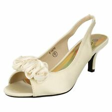 Ladies F1878 Ivory satin peep toe sling back court shoe by SPOT ON