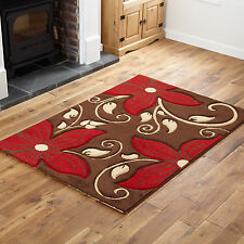 SMALL X EXTRA LARGE MODERN RUGS - QUALITY BROWN RED FLORAL DESIGN RUG