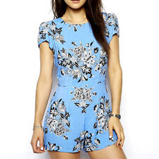 New Fashion Vintage Women's Floral Print Short Sleeve Casual Shorts Playsuit