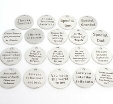 Message token charms, choose amount & type, moon, dad, mum, angel, Christmas