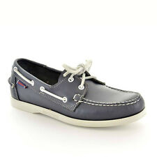 Sebago Mens Casual Boat Shoes Dockside Navy Brown Leather Wide Solid