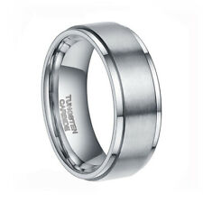 Tungsten Carbide Ring Stepped Edges Wedding Band Brushed Center Half Sizes