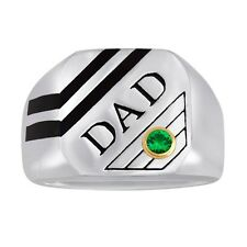 """DAD"" Ring in Stainless Steel and Black Enamel With Personalized Birthstone"
